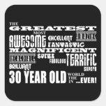 Trigésimos años más grandes de la fiesta de calcomanías cuadradas personalizadas