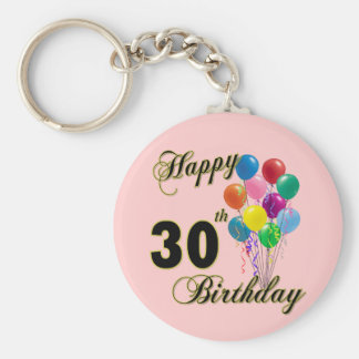 Trigésimos regalos de cumpleaños y ropa felices de llavero redondo tipo pin