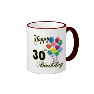 Trigésimos regalos de cumpleaños y ropa felices taza de dos colores