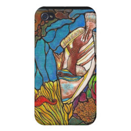 Trigger Fish and Seahorse Coral Reef Art iPhone 4 Case