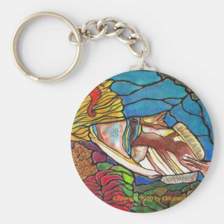Trigger Fish and Seahorse Coral Reef Art Basic Round Button Keychain