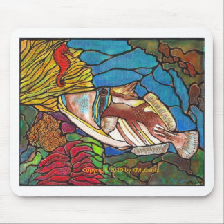Trigger Fish and Seahorse Coral Reef Art Mouse Pad