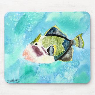 trigger fish sea life painting art prints mouse pad