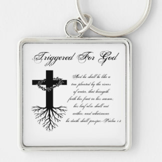 Triggered For God Square Keychain
