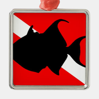 Triggerfish de reina de la bandera de la adorno navideño cuadrado de metal