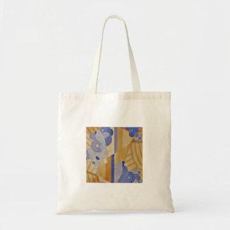 Trigo/diseño azul del art déco de los años 20 bolsa tela barata