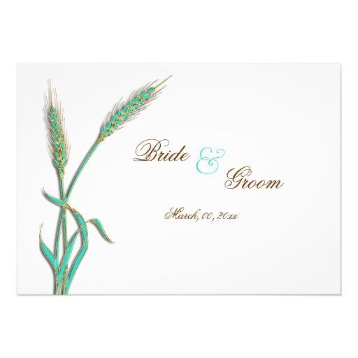 """Trigo """"tarjetas del boda del oro de la aguamarina  invitación personalizada"""