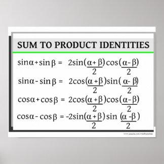 Trigonometría: Suma a las identidades del producto Póster