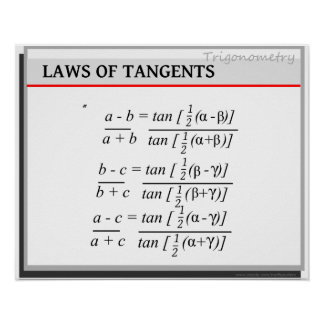 Trigonometry: Laws of Tangents Poster