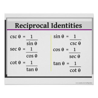 Trigonometry Poster: Reciprocal Identities Poster