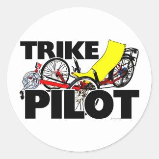 Trike Pilot Classic Round Sticker