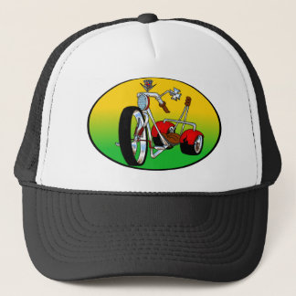 trike tricycle pimped out caddy cadillac chopper trucker hat