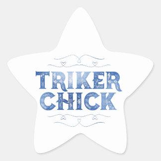 Triker Chick, Distressed Star Sticker