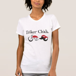 Triker Chick with Red Motorcycle Trike T-Shirt