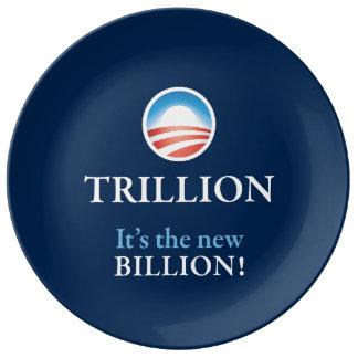 TRILLION IS THE NEW BILLION PORCELAIN PLATES