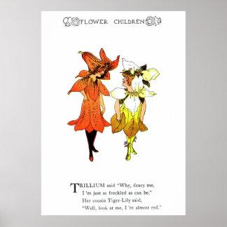 Trillium y lirio tigrado póster