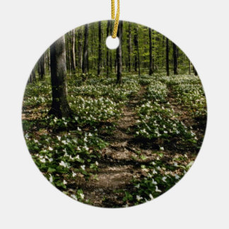 Trilliums, Morgan Arboretum, Montreal, Quebec Red Double-Sided Ceramic Round Christmas Ornament