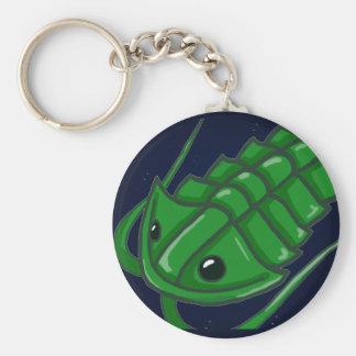Trilobite verde llavero redondo tipo pin