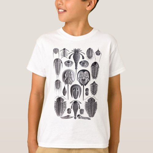 Trilobites and Fossils in Black and White T_Shirt