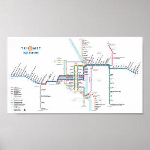 TriMet Rail System Poster