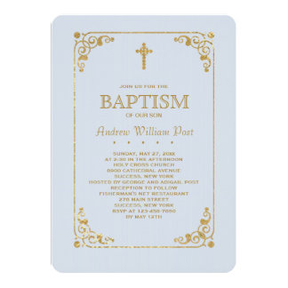 Trimmed in Gold Blue Religious Invitation