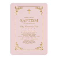 Trimmed in Gold Pink Religious Invitation