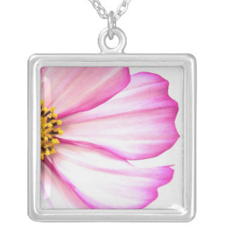Trimmed in Pink Silver Plated Necklace