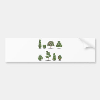Trimmed tree bush collection Stylized Bumper Sticker