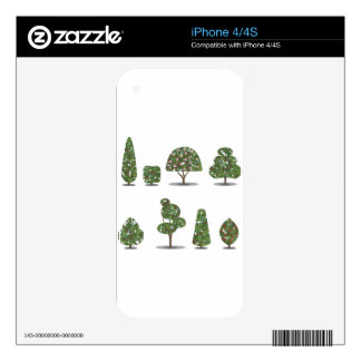 Trimmed tree bush collection Stylized Decal For The iPhone 4