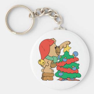 trimming the christmas tree teddy bear keychain