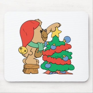 trimming the christmas tree teddy bear mouse pad