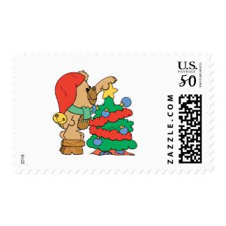 trimming the christmas tree teddy bear postage