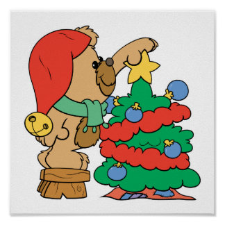 trimming the christmas tree teddy bear posters