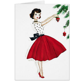 Trimming the Tree in Red Satin Greeting Card