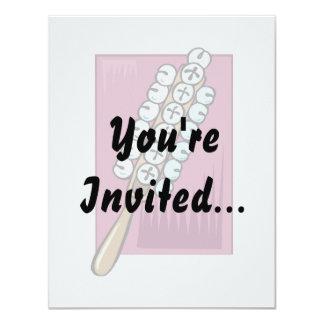 Trineo Belces con el fondo rosado Invitación 10,8 X 13,9 Cm