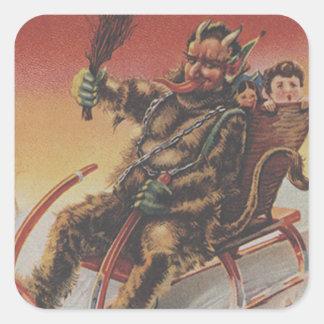 Trineo de los niños del secuestro de Krampus Pegatina Cuadrada