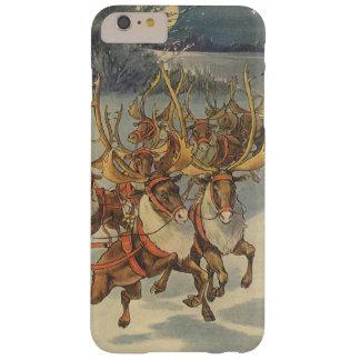 Trineo de Papá Noel del navidad del vintage con el Funda Para iPhone 6 Plus Barely There