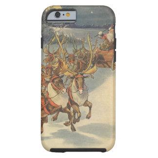 Trineo de Papá Noel del navidad del vintage con el Funda Para iPhone 6 Tough