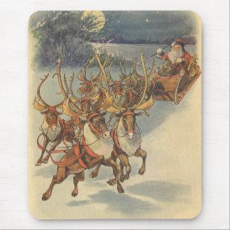 Trineo de Papá Noel del navidad del vintage con el Mousepads