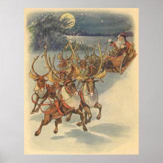 Trineo de Papá Noel del navidad del vintage con el Póster