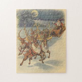 Trineo de Papá Noel del navidad del vintage con el Puzzle