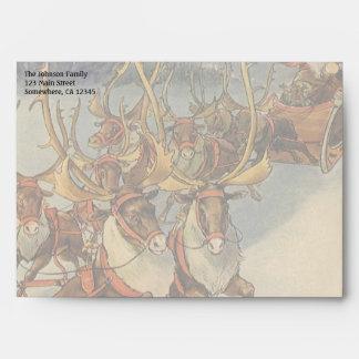 Trineo de Papá Noel del navidad del vintage con el Sobre