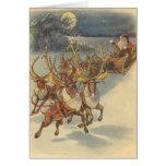 Trineo de Papá Noel del navidad del vintage con el Tarjeta De Felicitación