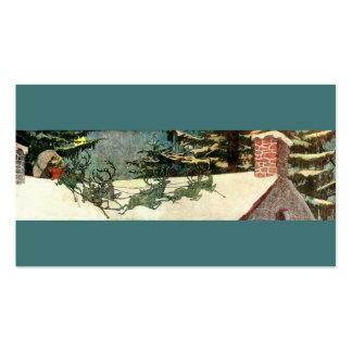 Trineo de Papá Noel del vintage en tejado Tarjetas De Visita