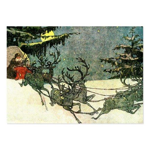 Trineo de Papá Noel del vintage en tejado Tarjetas De Visita Grandes