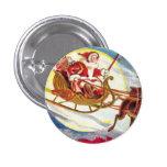 Trineo de Santa de las Felices Navidad Pin Redondo 2,5 Cm
