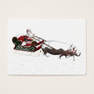 Trineo de Santa tirado por el Hippopotamus Tarjetas De Visita Grandes