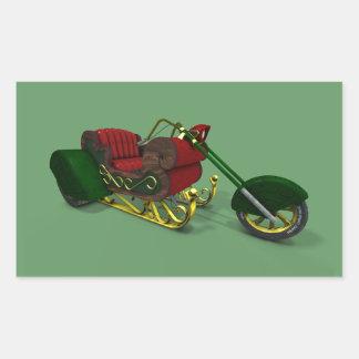 Trineo de Trike del motor de Papá Noel Rectangular Pegatinas