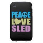 Trineo del amor de la paz iPhone 3 tough coberturas