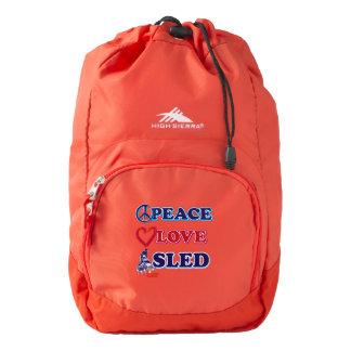 Trineo del amor de la paz mochila
